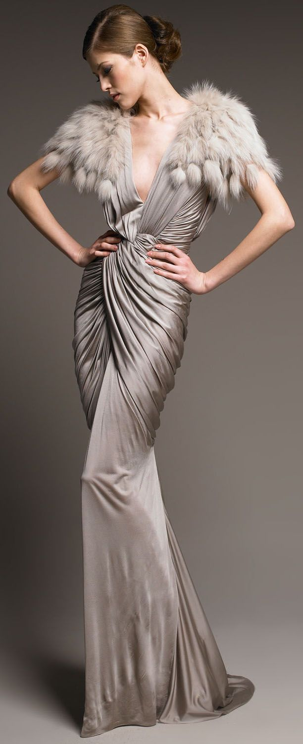 J.Mendel Ruched Jersey Gown http://www.lyst.com/clothing/j-mendel-pearl-ruched-jersey-gown-beige/