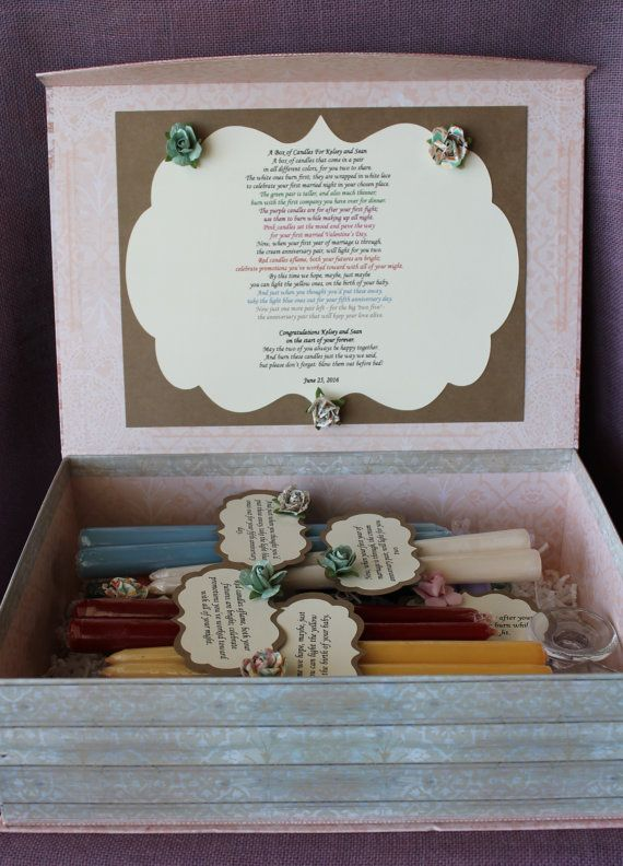 This is the best wedding shower present ever! There will be many happy tears as a result of this thoughtful gift that will celebrate not only the wedding, but many milestones in the happy couples lives. It features the Wedding Candle Poem which reads:  A Box of Candles For Bride and Groom (Enter custom names here)  A box of candles that come in a pair in all different colors, for you two to share.  The white ones burn first; they are wrapped in white lace to celebrate your first married…