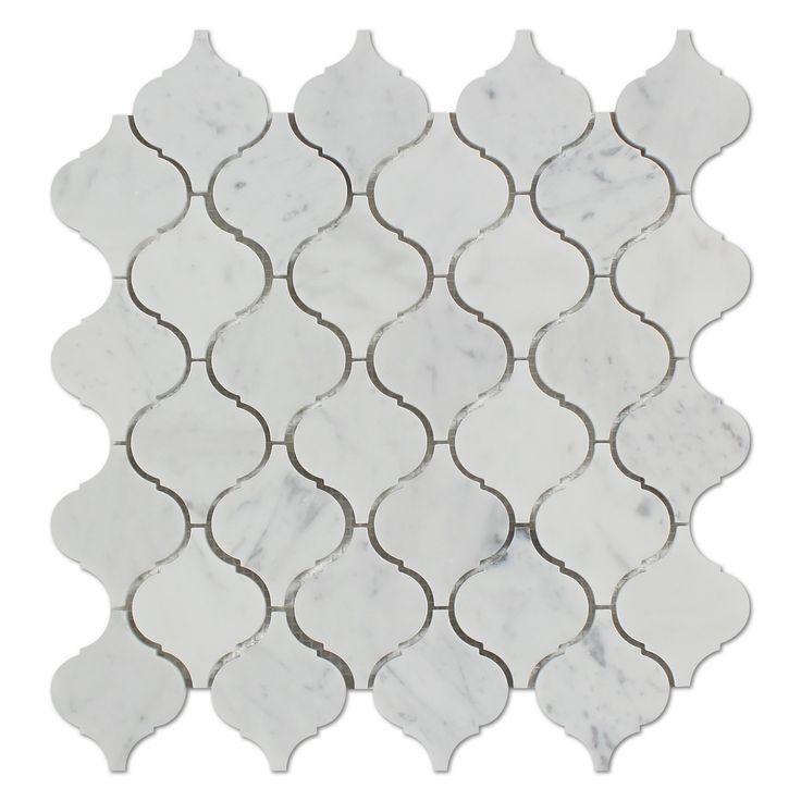 Carrara White Marble Honed Lantern Arabesque Mosaic Tile