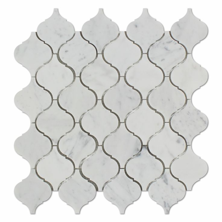 Carrara White Marble Honed Lantern Arabesque Mosaic Tile