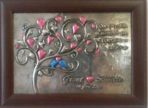 Pewter wedding plaque commemorate unique gift idea by MuddCraft