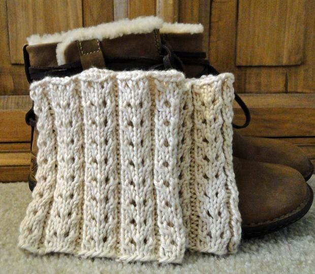 Knit Pattern For Boot Cuffs Free : Eyelet Ivory Boot Cuffs - Knitting Patterns and Crochet Patterns from KnitPic...