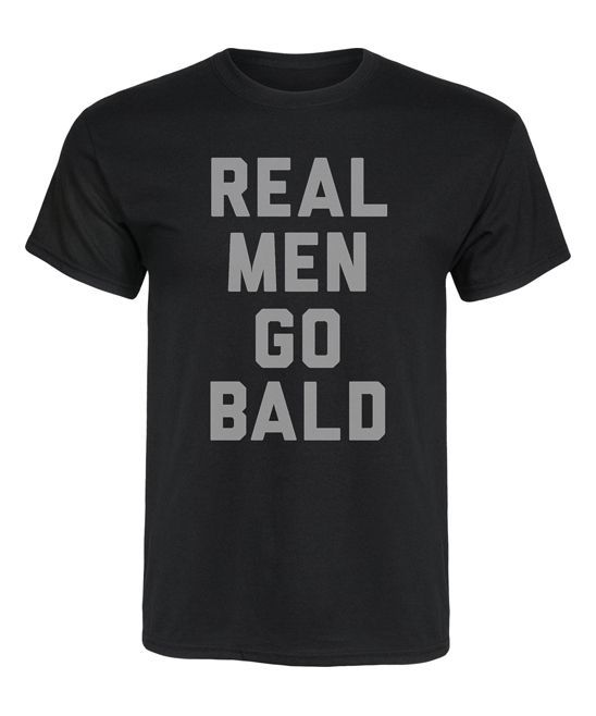 Black 'Real Men Go Bald' Tee - Men's Regular