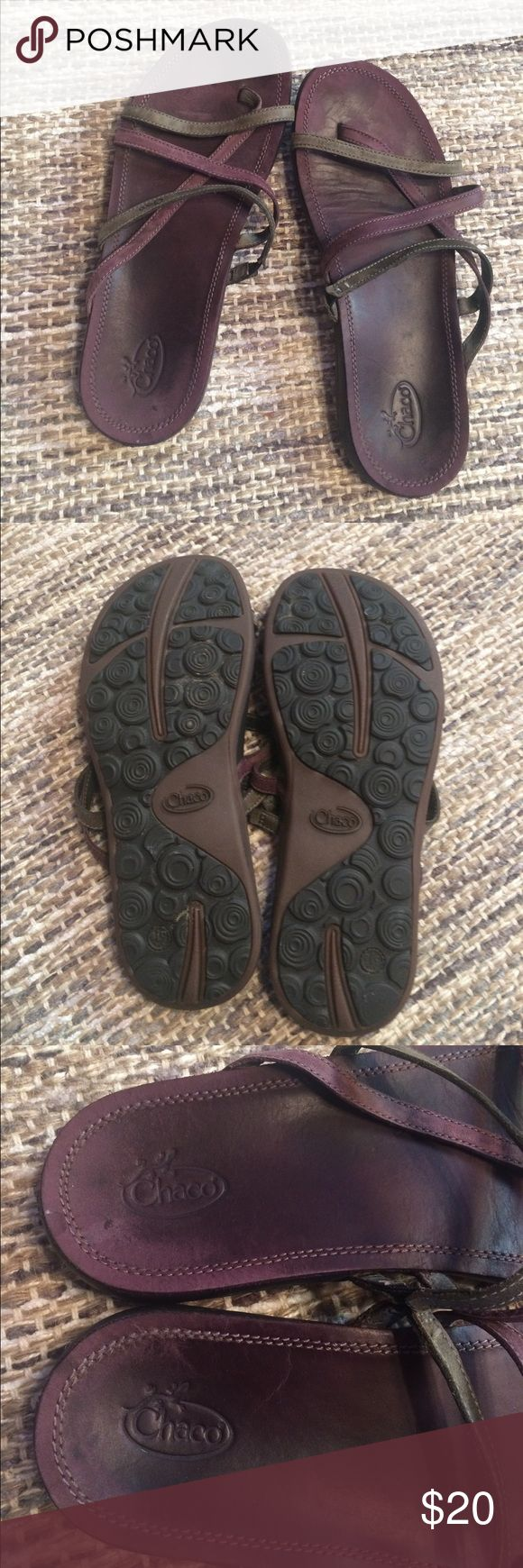 Chaco Flip Flops, purple leather, women's size 9 Good used condition, structurally sound, super comfortable! You will love them! Chaco Shoes Sandals