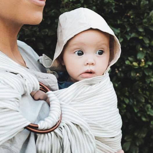 @mumma_robke with our Grey Stripe Ring Sling