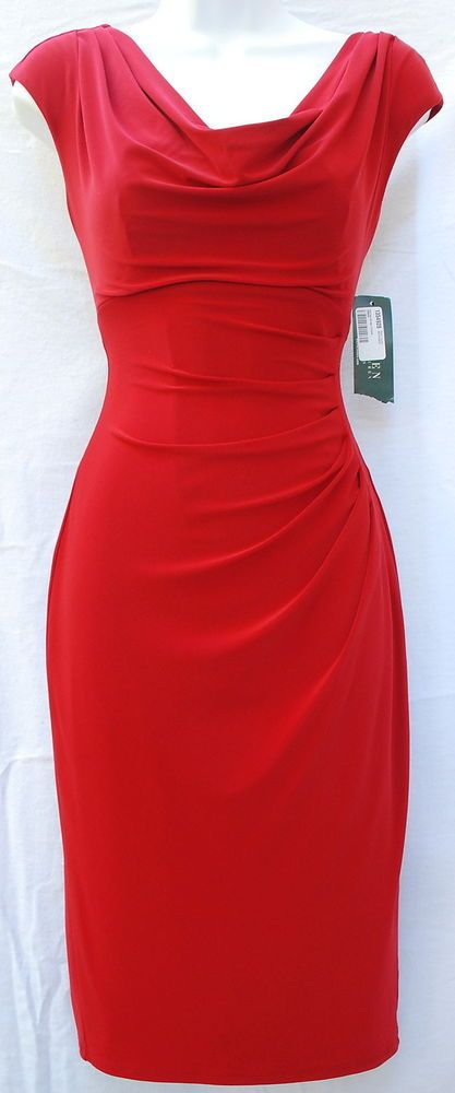 Ralph Lauren cocktail classy design red women dress sz 2 cowl neck ruched side  #RalphLauren #Sheath #Cocktail