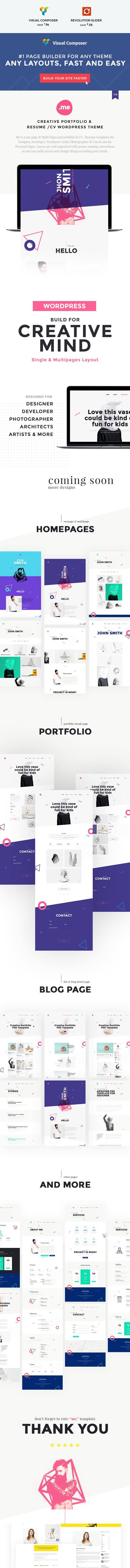 Creative Portfolio & Resume / CV WordPress Theme