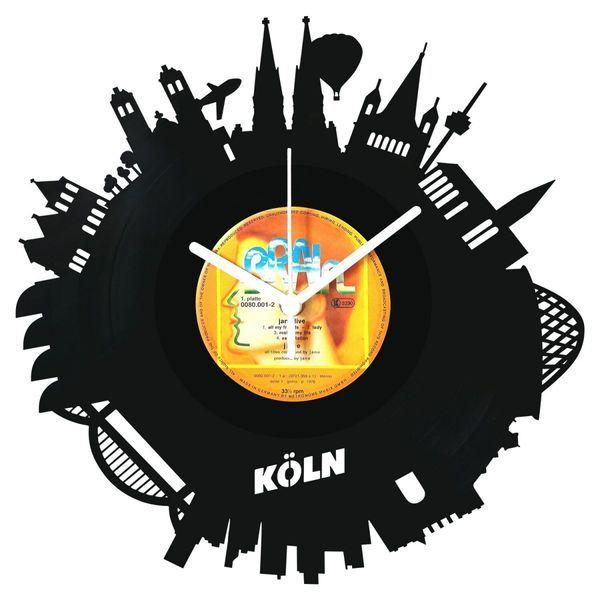 Uhren - Schallplattenuhr Skyline Köln 2017 - ein Designerstück von GRAVURZEILE-DE bei DaWanda