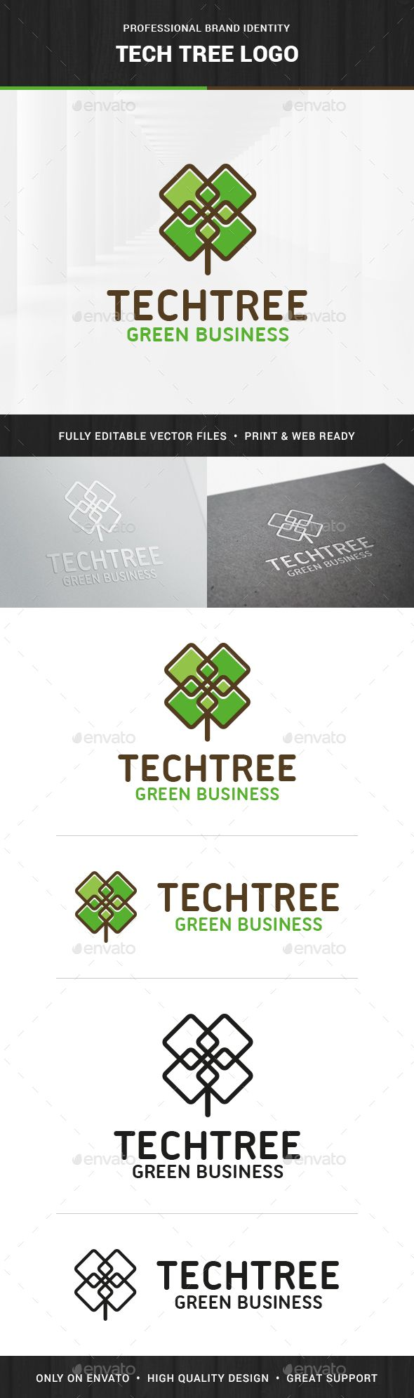 Tech Tree Logo Template - Nature Logo Templates