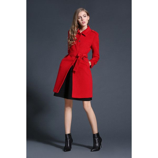 Fashion Down Coat Notch Collar Dress Coat Preppy Women Winter... (€130) ❤ liked on Polyvore featuring outerwear, coats, wrap coat, pea coat, red pea coat, wool pea coat and blue peacoat