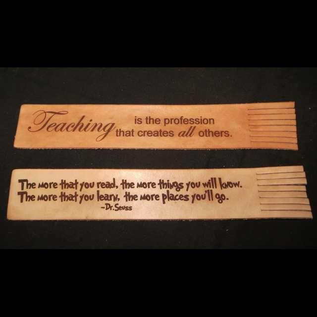 Teacher appreciation: Genuine Leather bookmark