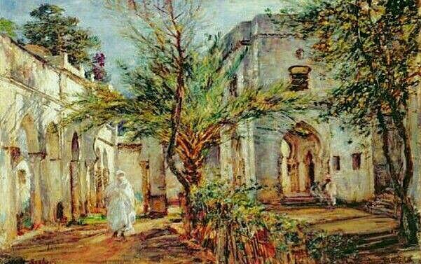 Algérie - Peintre American  William Mark Fisher (1841 –1923),Huile sur toile, Titre : A Alger
