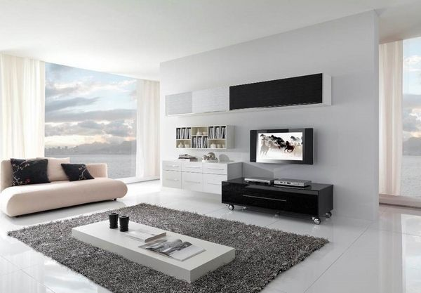 minimalist home designs 2015 minimalist living room interior cream couch white table black cabinets gray area rug