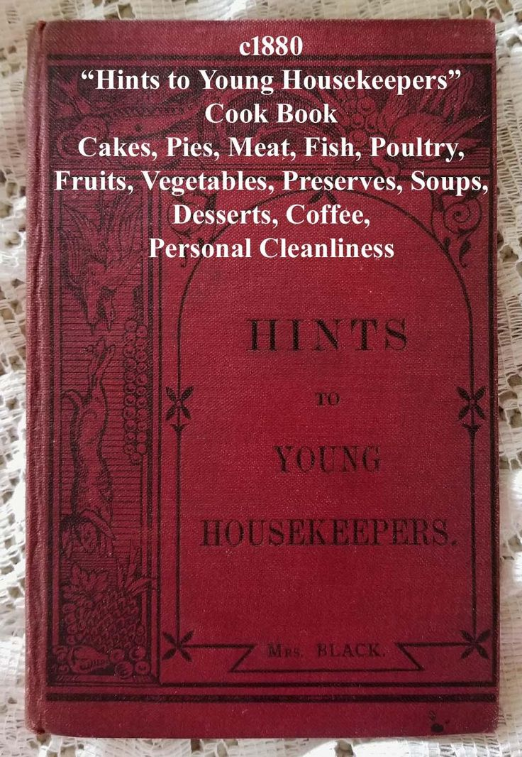 c1880 Victorian Cook Book Hints to Young Housekeepers Mrs Black Food Cooking Meats Vegetables Desserts Recipes Chef