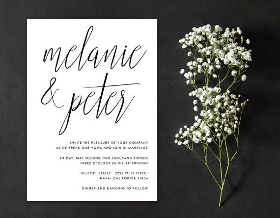 Calligraphy Minimal Wedding Invitation by AlexaNelsonPrints