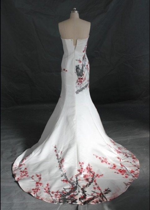 Fresh Strapless Satin Painting Chinese Wedding Dress Prom by misdress M s