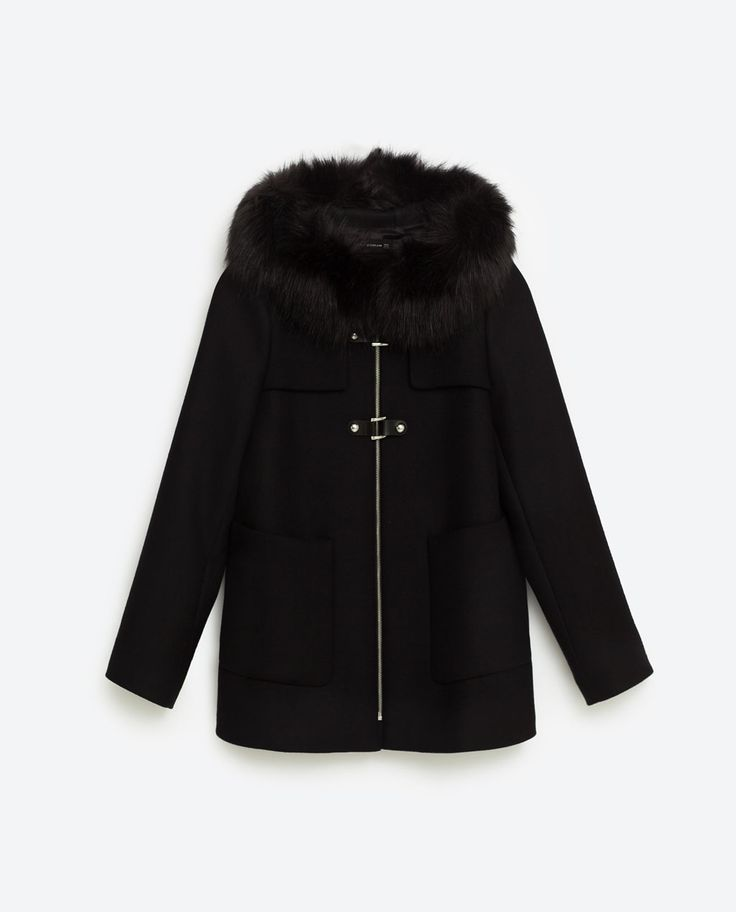 manteau duffle coat femme noir zara manteaux populaires et branch s en france. Black Bedroom Furniture Sets. Home Design Ideas