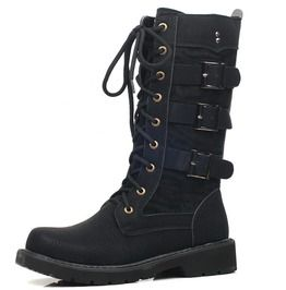 Black Buckles And Lace Up Faux Leather Men Motorcycle Boots