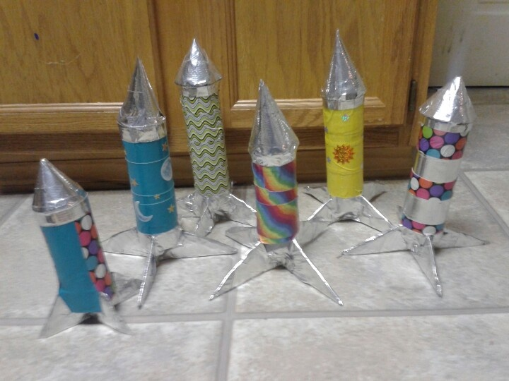 Homemade rockets for Pre-k space unit.