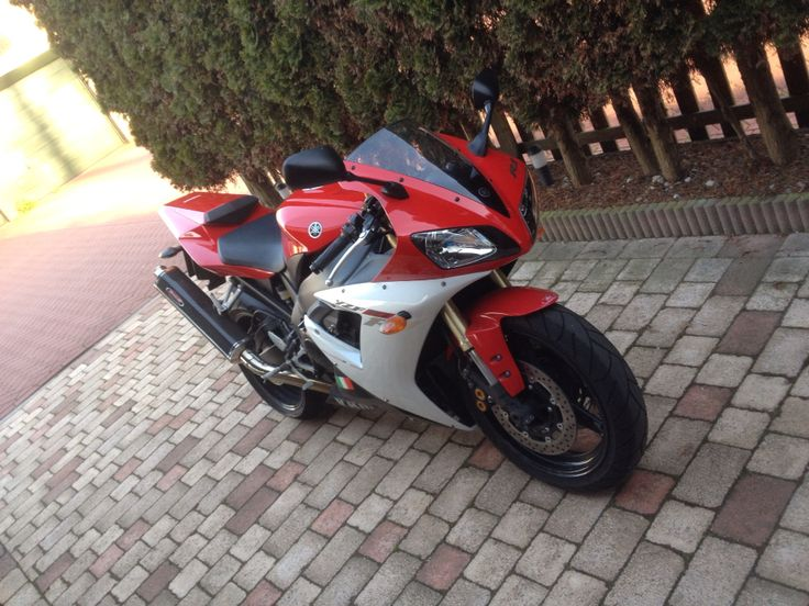 My Yamaha R1 2002 motorcycle in red/white/black.
