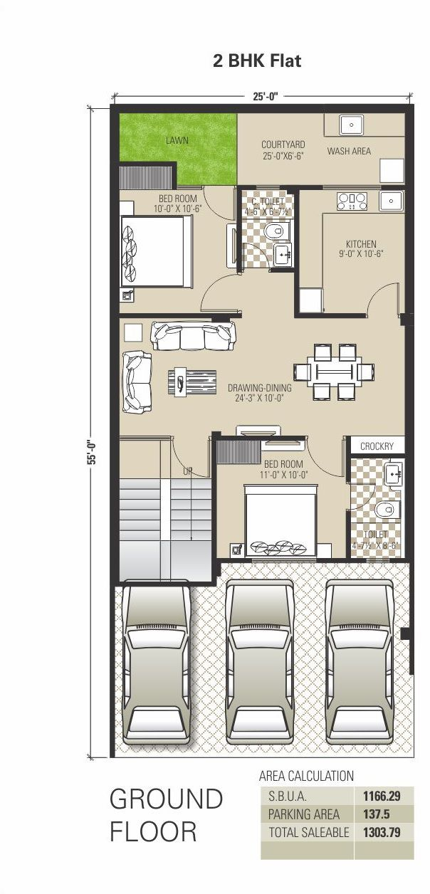 Image result for 2 BHK floor plans of 25*45 | Small house ...