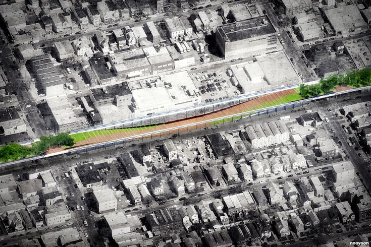 nooyoon proposes upside down bridge connector for queensway NY - designboom   architecture & design magazine