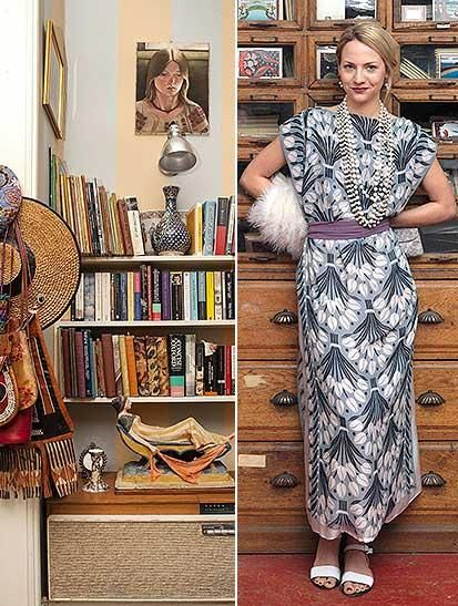 Cressida thinks in patterns and designs - and lives among them too (left); Bell's Mexican Tulips silk design (right) will be made into a dress for the next series of ITV drama Mr Selfridge (dress and styling by Philippa Stockley)