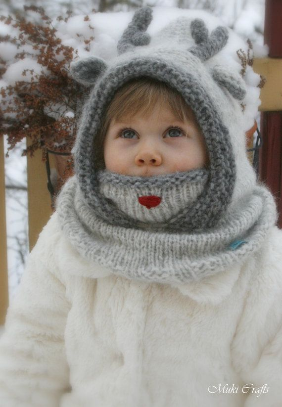 KNITTING PATTERN hooded cowl reindeer Rudolph with antlers (baby, toddler, ch...