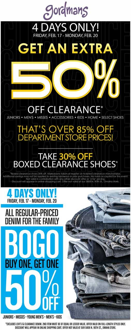 Pinned February 17th: Extra 50% off clearance & more at #Gordmans ditto online #TheCouponsApp
