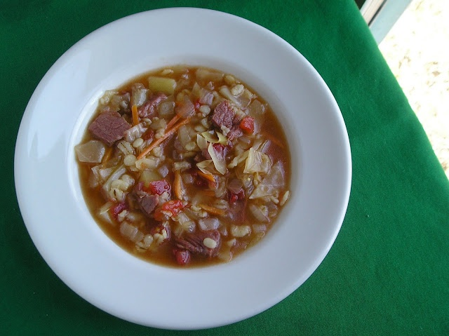 Corned Beef and Cabbage Soup.....go irish. I added a lot more allspice ...