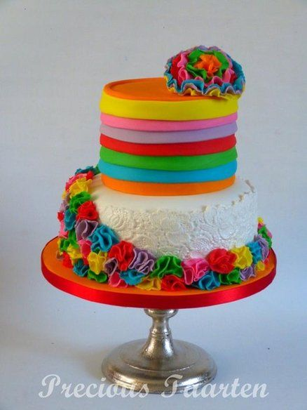I have no need to do a rainbow cake, but I know rainbow bdays are in right now.  Pinning for friends and @Melissa Squires Drew  colours - by PreciousPeggy @ CakesDecor.com - cake decorating website