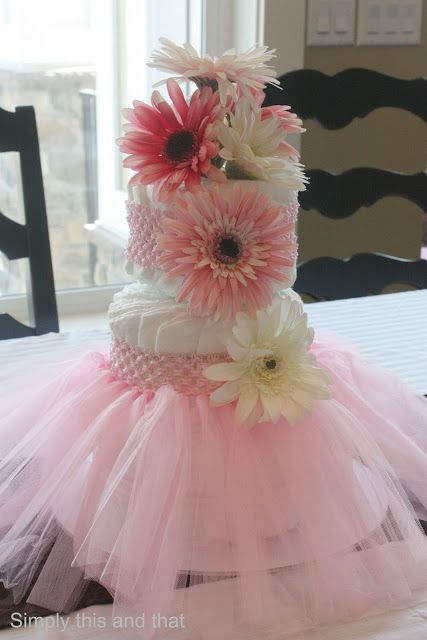 Diaper cake Baby Girl Shower – I love the headbands on this cake and the tutu ca
