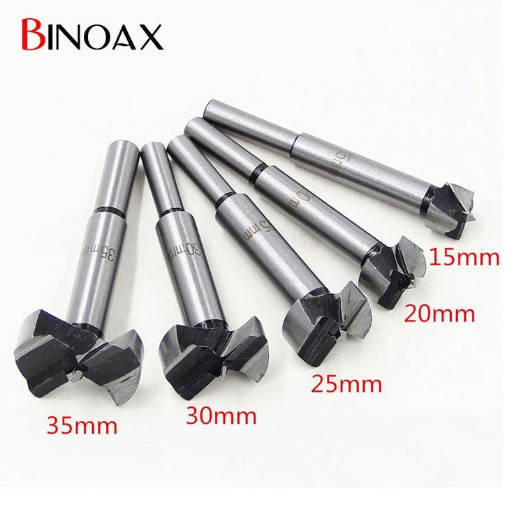 Binoax 5pcs/Set Hand Tools New YG8 Forstner Auger Drill Bit Woodworking Hole Saw Wooden Wood Cutter Dia 15 20 25 30 35mm