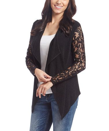 Love this Black Lace-Sleeve Open Cardigan on #zulily! #zulilyfinds ...
