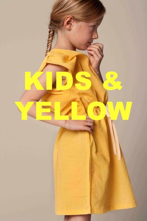Yellow kids fashion. Inspiratie van gele kindermode en kinderdingen.  Meisjeskleding, jongenskleding, winterjassen