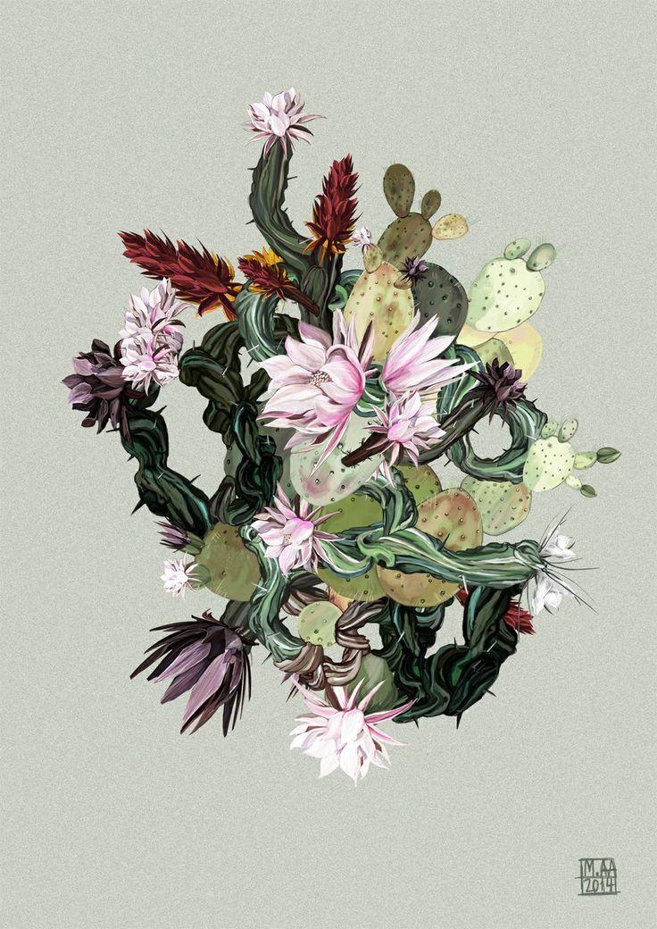 digitalt maleri cactus composition sacre botanica a2. Black Bedroom Furniture Sets. Home Design Ideas
