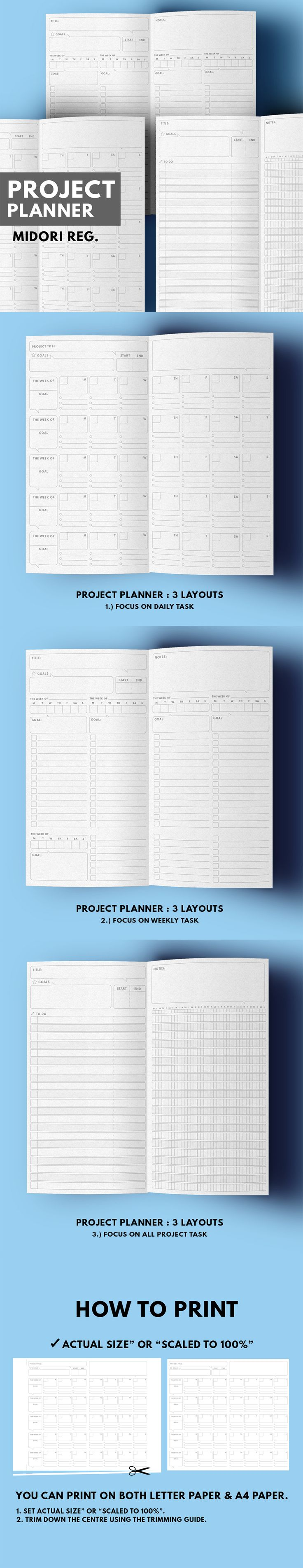 Project / Goal Planner ▹ for Midori Traveller's notebook Regular size  Printable   Project / Goal Planner in minimal layout This planner design for tracking all task in your project for 5 weeks(1 month) in 2 pages, There're 3 different layouts that you can choose which is suit for you such as project planner focus on daily task, weekly task or whole project.  ▹ Title ▹ Goal ▹ Start/End date ▹ Weekly Planner/Tracker ▹ To do list ▹ Notes