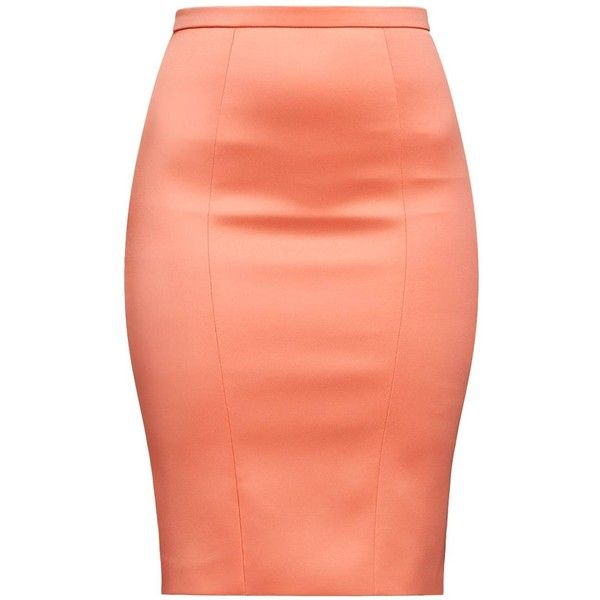 Alice Grace - Pink Coral Stretch Satin Pencil Skirt ($234) ❤ liked on Polyvore featuring skirts, bodycon pencil skirt, pink knee length skirt, bodycon skirt, body con skirt and pink skirt