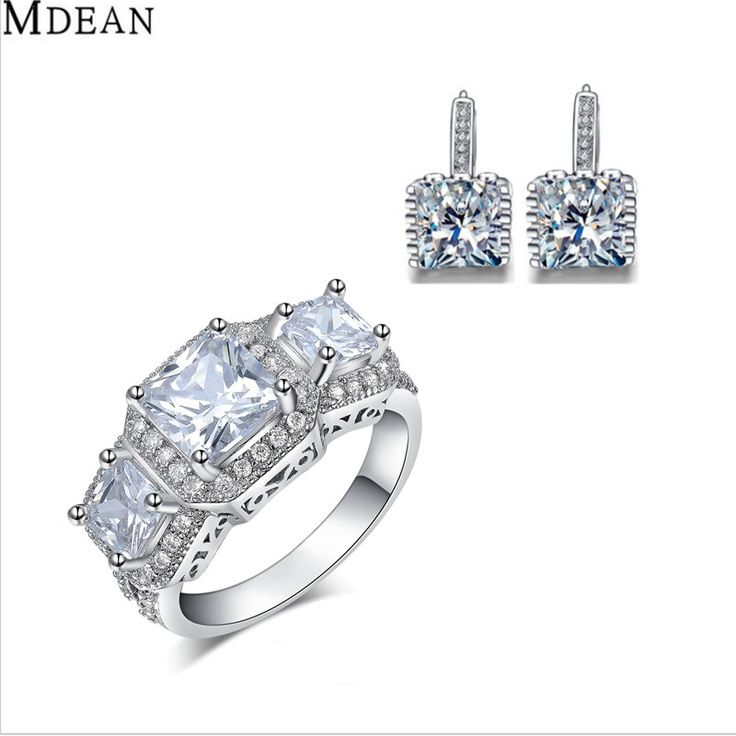 MDEAN Ring+Earring Jewelry Sets for women Square Stone Engagement Vintage Fashion Accessories Luxury Wedding womne Jewelry set
