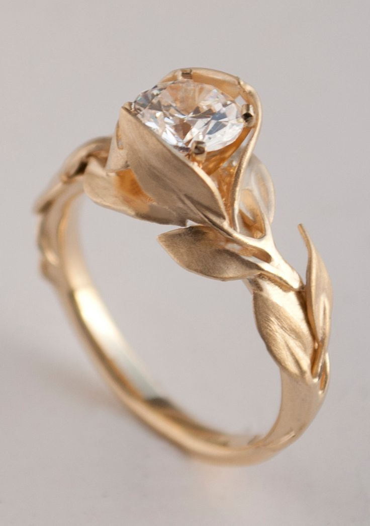 Leaves Engagement Ring No. 7 - 14K Gold and Diamond engagement ring, engagement ring, leaf ring, 1ct diamond, antique, art nouveau, vintage