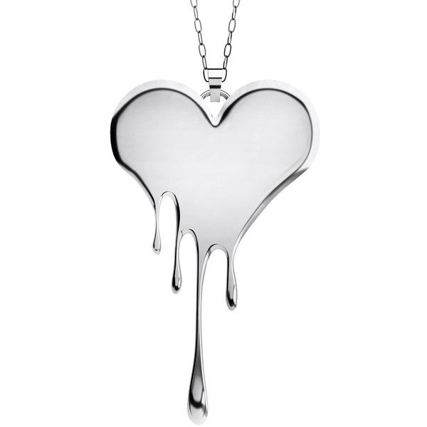 Lusasul Bloody Heart Necklace ($161) ❤ liked on Polyvore featuring jewelry, necklaces, silver, heart jewelry, silver heart necklace, silver heart shaped necklace, heart shaped jewelry and silver jewellery