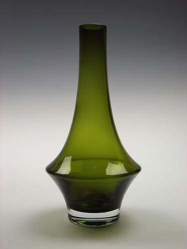 Riihimaki olive green cased glass vase