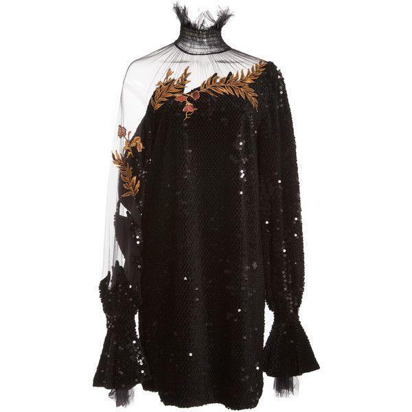 Alena Akhmadullina Sequin Embellished Long Sleeve Dress ($1,925) ❤ liked on Polyvore featuring dresses, black, flutter-sleeve dress, long sleeve turtleneck dress, flounce dress, frilly dresses and sequin dresses