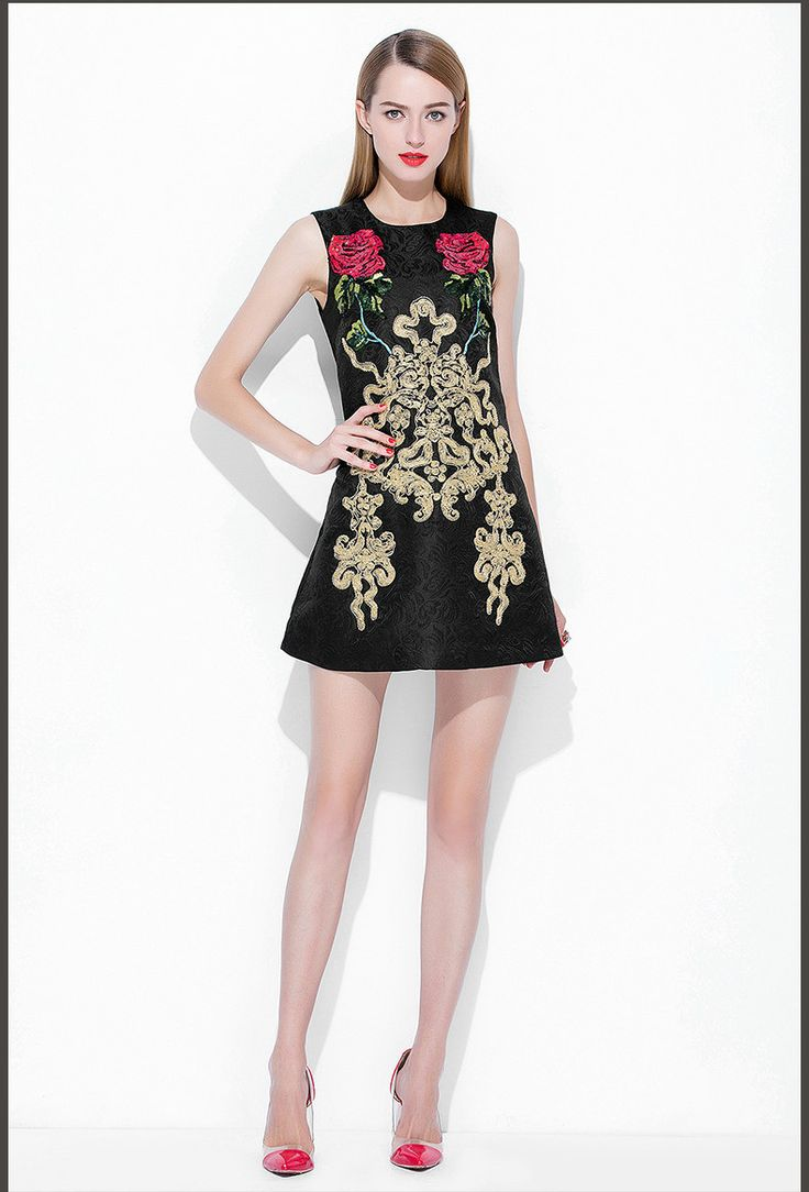 Sequined Roses Printed A Line Short Jacquard Dress