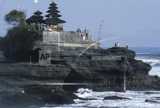 Tanah Lot, located on the southeastern side of the island of Bali, is seen, Oct. 1979. (AP Photo)