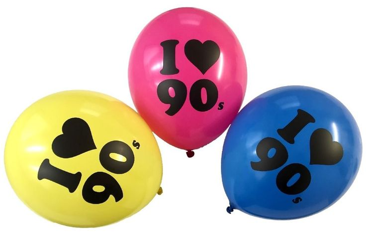 I LOVE THE 90s Balloons - Party Decorations 1990s 90 s Theme Bright Colourful