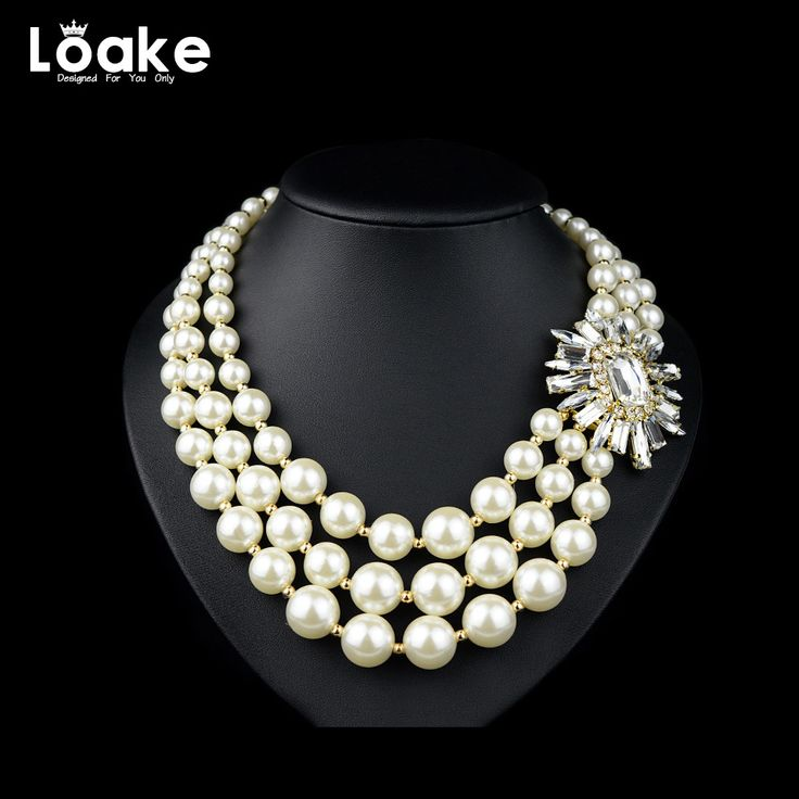 Loake Multi Layers Pearl Long Rhinestone Necklace Power Necklace For Party Jewelry Luxury Pearl Pendant Big Statement  #Affiliate