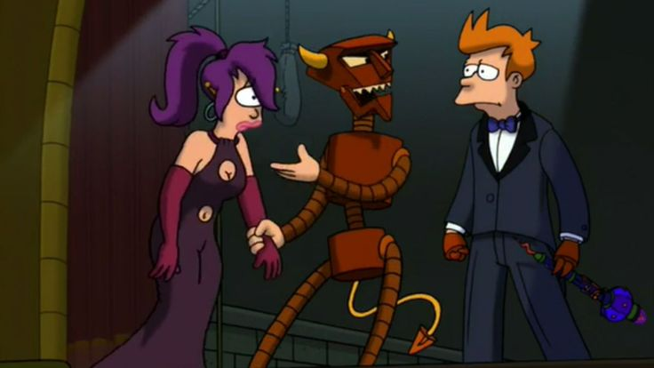 """Futurama, Season 4: """"The Devil's Hands Are Idle Playthings"""" - Fry shows his love for Leela by writing an opera for her, and one of my favorite recurring characters, the Robot Devil, gets involved (with his """"ridiculously circuitous"""" plan.) (This episode was also meant to be the series finale the first time that Futurama was cancelled.)"""