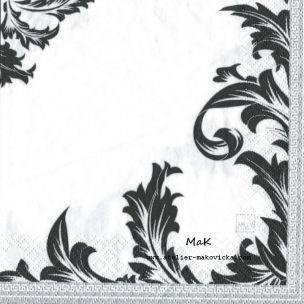 Luxury Black &;White nostalgické servítky čierna, strieborná, biela
