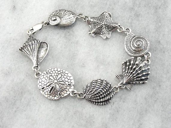 Vintage Sterling Silver Shell Bracelet For A Beach by MSJewelers